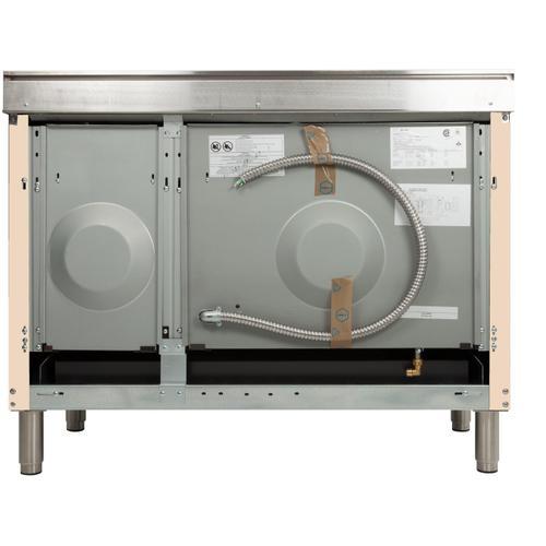 Nostalgie 48 Inch Dual Fuel Liquid Propane Freestanding Range in Antique White with Bronze Trim