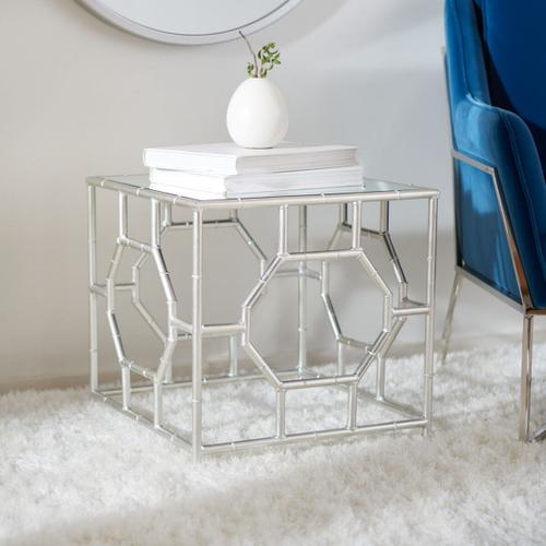 Rory Silver Mirror Top Accent Table - Silver / Mirror