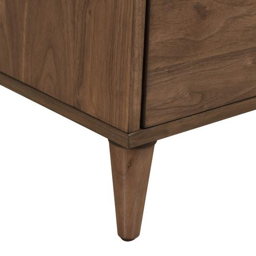 Walnut, Two Drawer Mid-Century Modern Nightstand