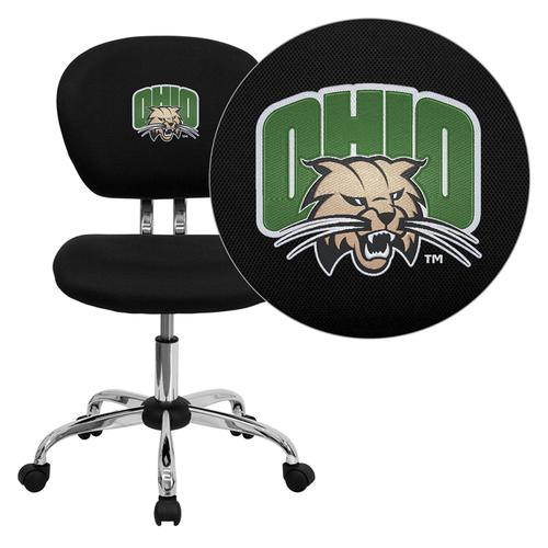 Ohio University Bobcats Embroidered Black Mesh Task Chair with Chrome Base