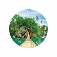 Bridge On Beach Round Acrylic Wall Clock