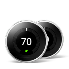 Nest Learning Thermostat 3rd Gen Polished Steel 2 Pack