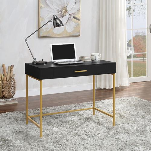 Modern Life Writing Desk In Black Finish With Gold Metal Frame
