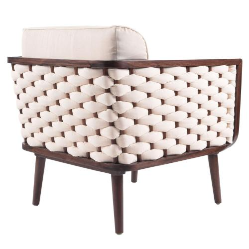 Geneve Arm Chair Harvest Brown Frame, Pearl