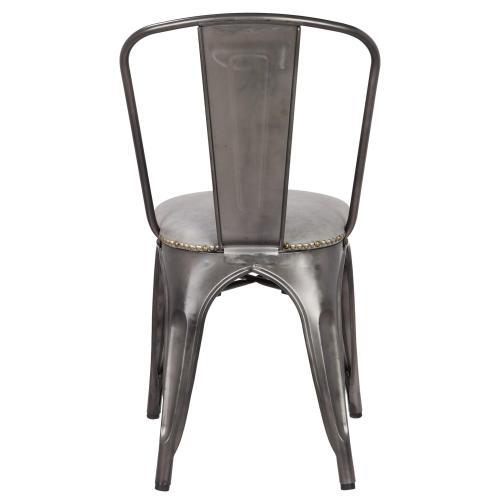 Metropolis KD PU Metal Side Chair, Vintage Mist Gray