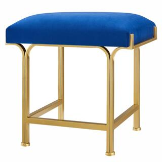 Kiky Velvet Fabric Ottoman, Serene Dark Blue/ Gold