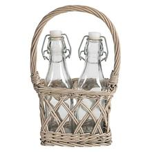 Bottles In Willow Basket