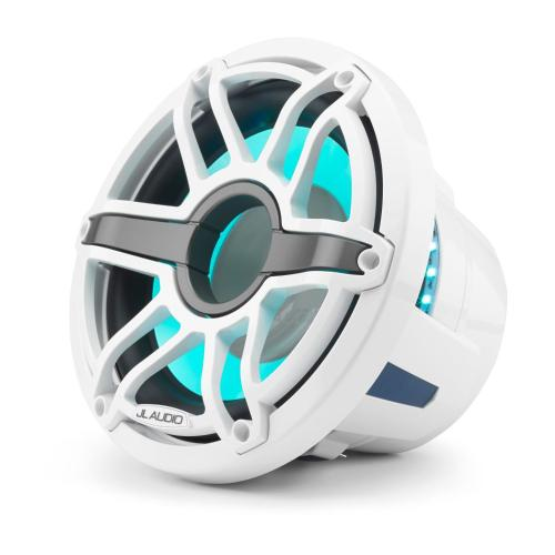JL Audio - 10-inch (250 mm) Marine Subwoofer Driver with Transflective™ LED Lighting, Gloss White Trim Ring, Gloss White Sport Grille, 4
