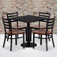 Product Image - 30'' Square Black Laminate Table Set with 4 Ladder Back Metal Chairs - Cherry Wood Seat