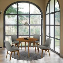 """See Details - Arcadia and Azalea 42"""" Round Charcoal and Walnut Wood 5 Piece Dining Set"""