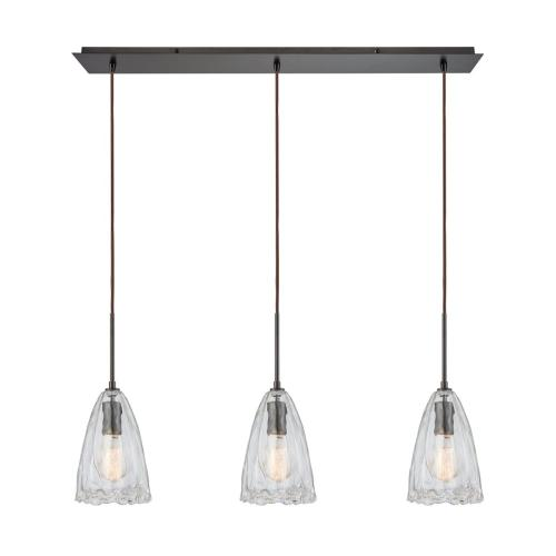 Hand Formed Glass 3-Light Linear Mini Pendant Fixture in Oiled Bronze with Clear Hand-formed Glass