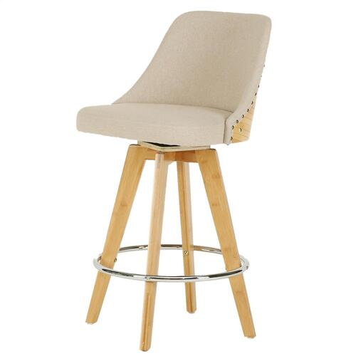 Nala KD Fabric Bamboo Swivel Counter Stool, Stokes Linen/Natural