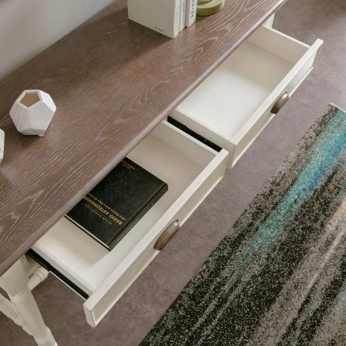 Toscana Two Drawer Sofa table with Wood Cup Pull #11733