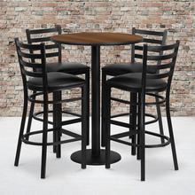 Product Image - 30'' Round Walnut Laminate Table Set with Round Base and 4 Ladder Back Metal Barstools - Black Vinyl Seat
