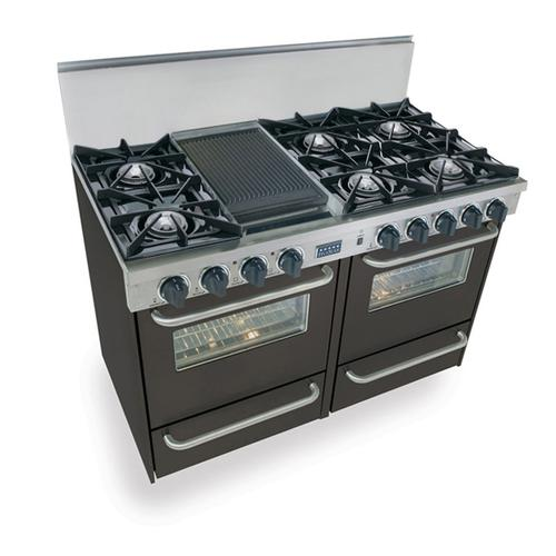 "48"" All Gas Range, Open Burners, Black"