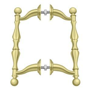 Deltana - Off-Set Handle Pull, Back-To-Back Set - Polished Brass