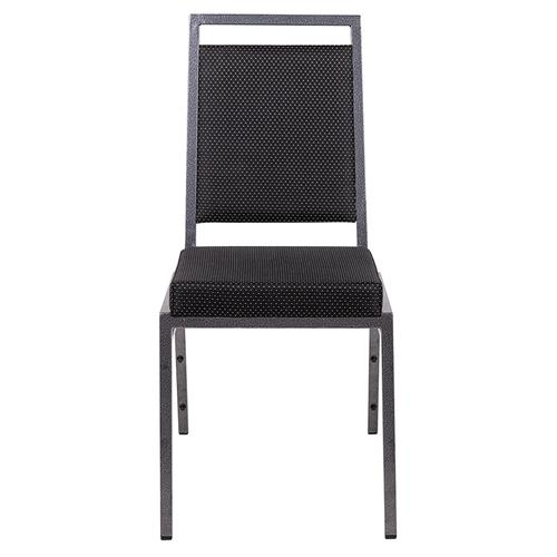 HERCULES Series Square Back Stacking Banquet Chair in Black Dot Fabric with Silvervein Frame