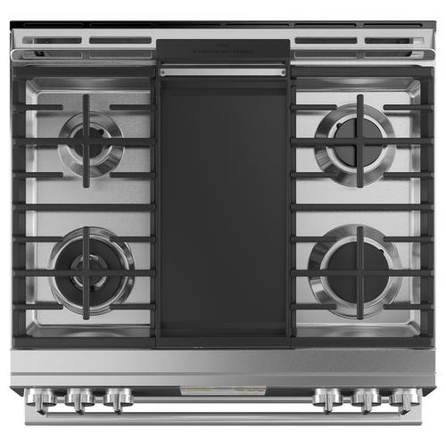 "Café 30"" Smart Slide-In, Front-Control, Dual-Fuel, Double-Oven Range with Convection in Platinum Glass"