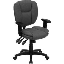 View Product - Mid-Back Gray Fabric Multifunction Swivel Ergonomic Task Office Chair with Pillow Top Cushioning and Arms