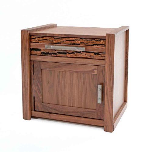 Riley 1 Door 1 Drawer Nightstand With Bark Tile-hinged Left