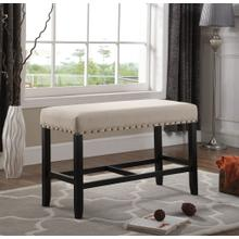 Biony Tan Fabric Counter Height Dining Bench with Nailhead Trim