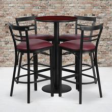 24'' Round Mahogany Laminate Table Set with Round Base and 4 Two-Slat Ladder Back Metal Barstools - Burgundy Vinyl Seat