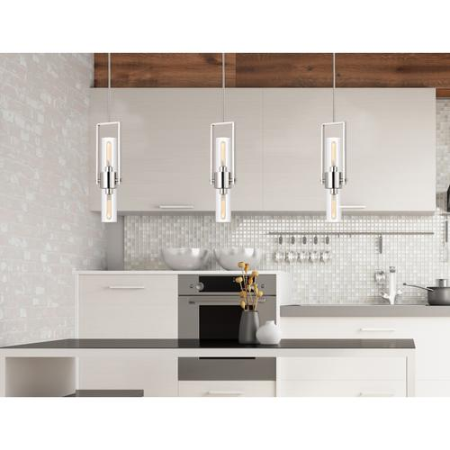 60W Redmond metal pendant with clear glass shade