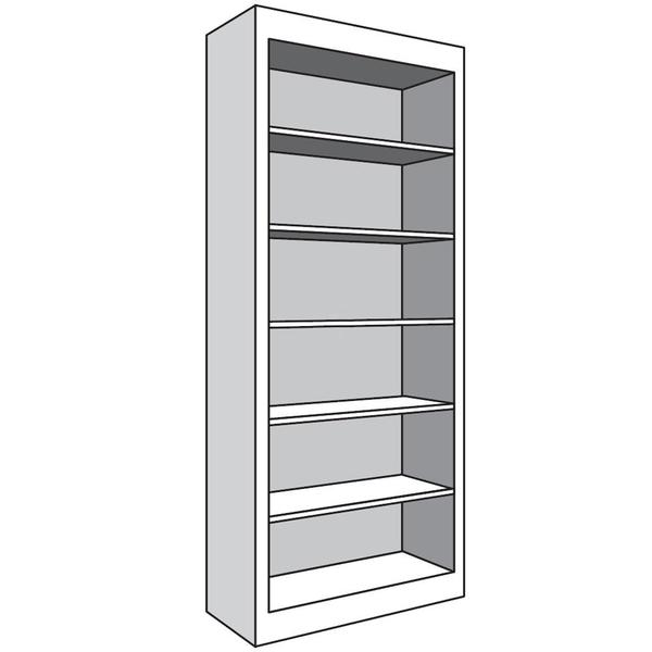 """See Details - Full Height Bookcase, 12""""d with 5 Adjustable Shelves, 18""""w x 82""""h"""
