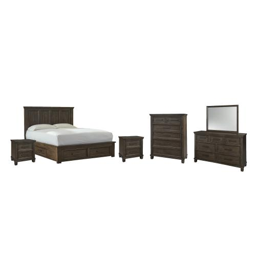 Gallery - Queen Panel Bed With 4 Storage Drawers With Mirrored Dresser, Chest and 2 Nightstands