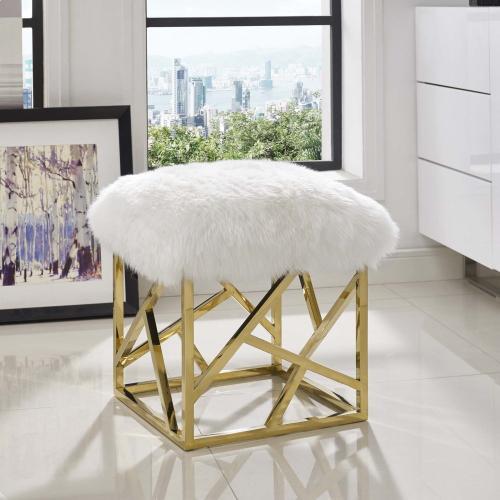 Intersperse Sheepskin Ottoman in Gold White