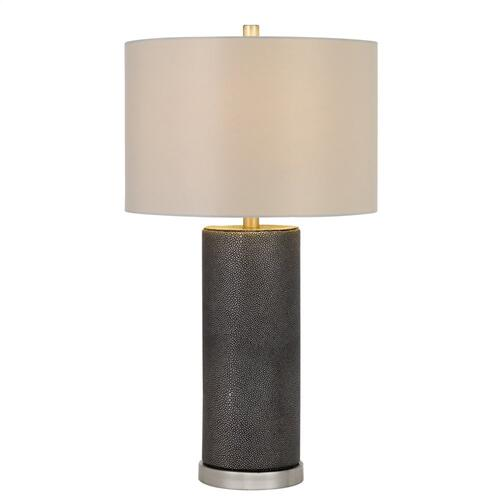150W 3 way Graham ceramic table lamp with hardback drum fabric shade