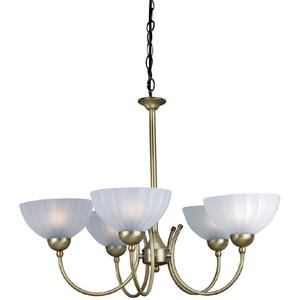 5-lite Ceiling Lamp, Bronze W/frost Glass, 60wx2/g Type