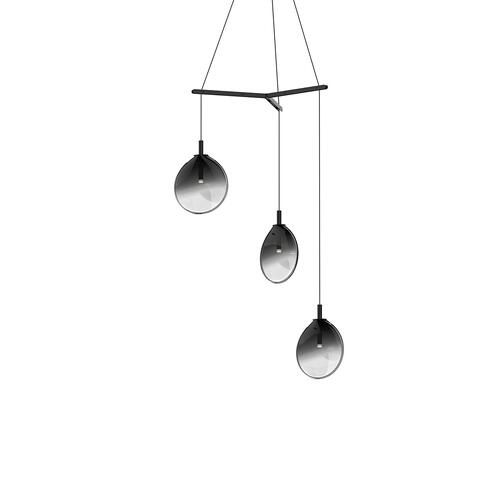Sonneman - A Way of Light - Cantina LED Pendant [Size=Small 3-Light Tri-Spreader, Color/Finish=Satin Black w/Smoke Fade Glass]