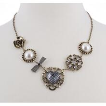 BTQ Burnished Gold Heart and Pearl Charm Necklace