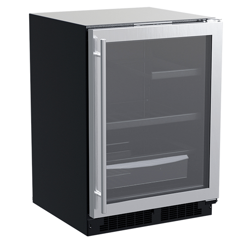 Marvel - 24-In Built-In Refrigerator With 3-In-1 Convertible Shelf And Maxstore Bin with Door Style - Stainless Steel Frame Glass