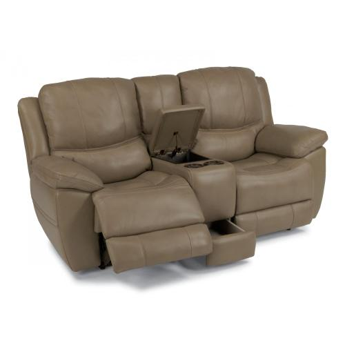 Product Image - Estella Leather Power Reclining Loveseat with Console