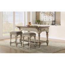 Plymouth Kitchen Island & 2 Upholstered Stools