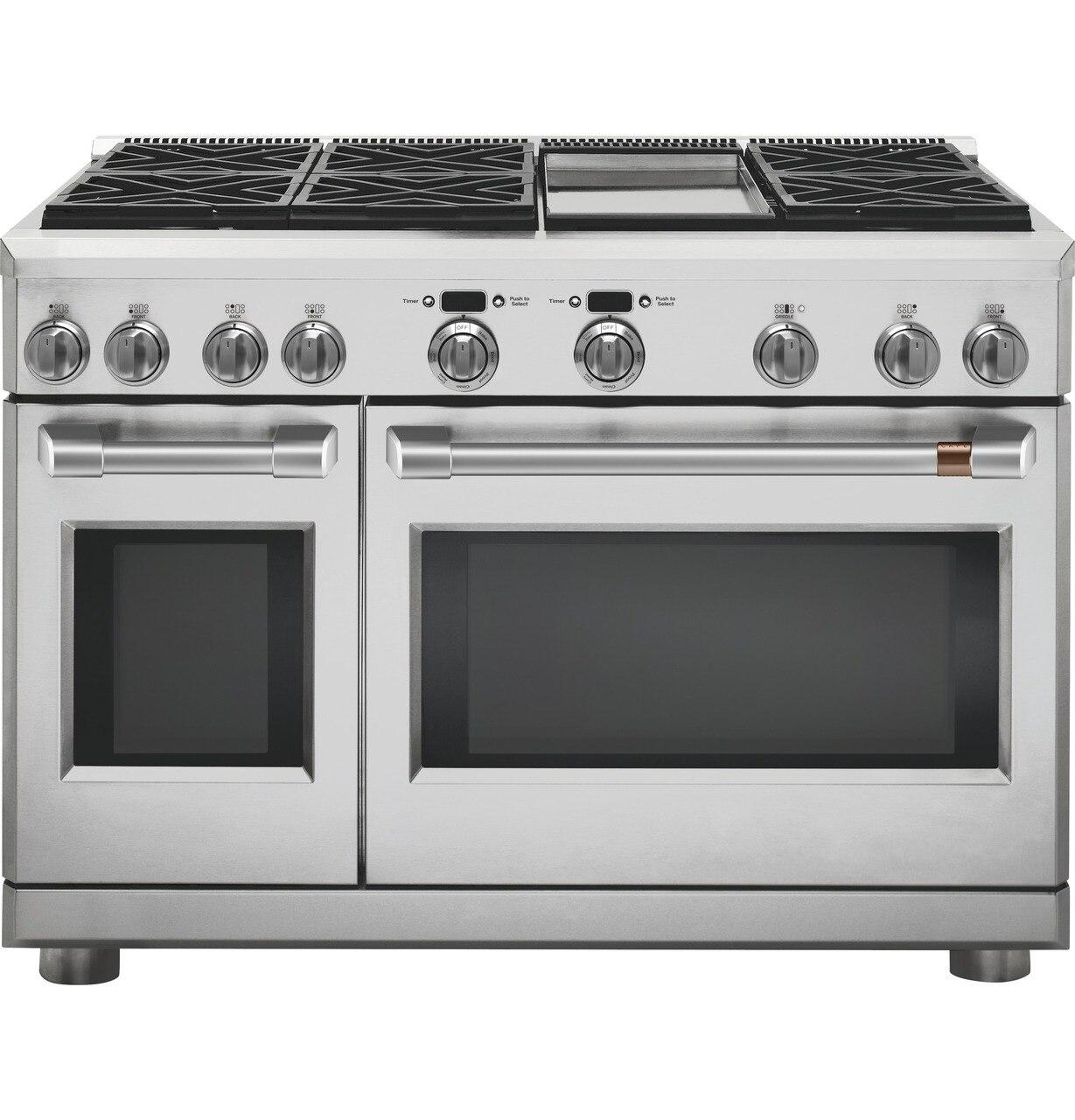 "Cafe Appliances48"" Dual-Fuel Commercial-Style Range With 6 Burners And Griddle (Natural Gas)"
