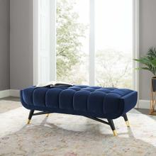 "Adept 47.5"" Performance Velvet Bench in Midnight Blue"
