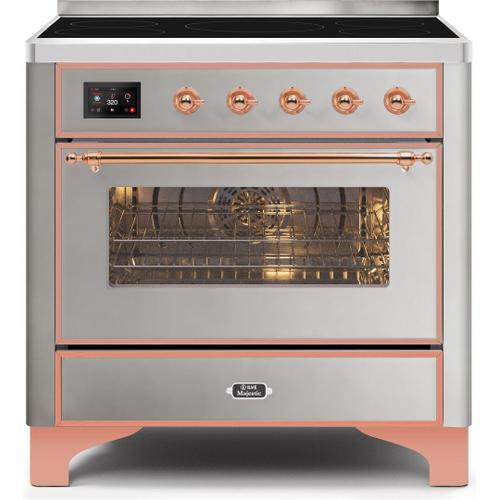 Ilve - Majestic II 36 Inch Electric Freestanding Range in Stainless Steel with Copper Trim