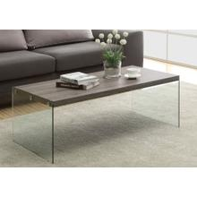View Product - COFFEE TABLE - DARK TAUPE WITH TEMPERED GLASS