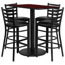 24'' x 42'' Rectangular Mahogany Laminate Table Set with Ladder Back Metal Barstool and Black Vinyl Seat, Seats 4