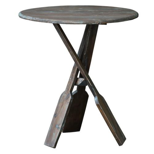Sunset Trading - Boat Oar Accent Table - Blue Brush Finish