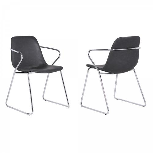 Colton Contemporary Dining Chair in Chrome Finish and Grey Faux Leather - Set of 2