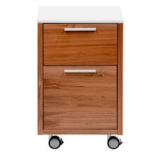 Hugo 2 Drawer File Cabinet In White With American Walnut Frame
