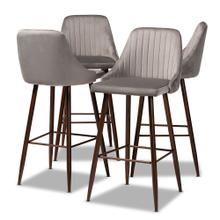 See Details - Baxton Studio Walter Mid-Century Contemporary Grey Velvet Fabric Upholstered and Walnut Finished 4-Piece Bar Stool Set