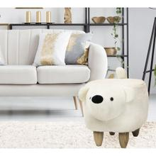 "Critter Sitters Plush Polar Bear Animal Ottoman Furniture for Nursery, Bedroom, Playroom & Living Room Decor, 14"" Seat Height, CSBROTT-WHT"