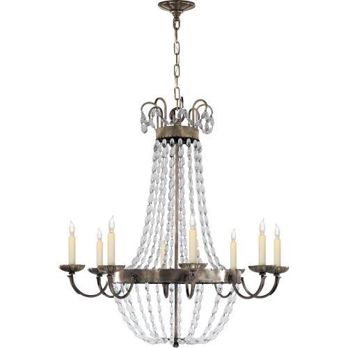 Visual Comfort CHC1408SHS-SG E F Chapman Paris Flea Market 8 Light 32 inch Sheffield Silver Chandelier Ceiling Light