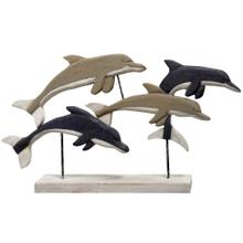 See Details - NATIVE DOLPHINS  33in X 4in X 18in  Natural Wood Table Top Carved Sculpture  Made in India