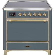 See Details - Majestic II 36 Inch Electric Freestanding Range in Blue Grey with Brass Trim